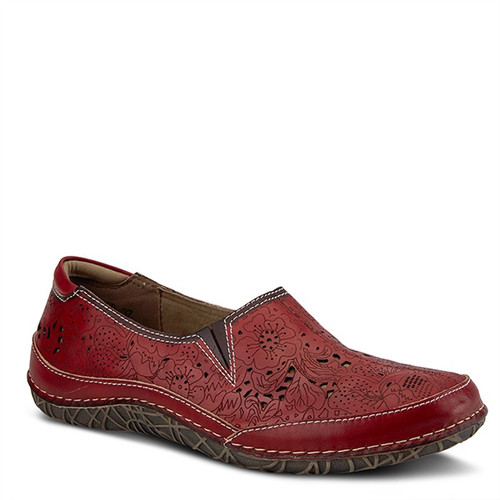Red hand painted leather slip on with floral perforated design.