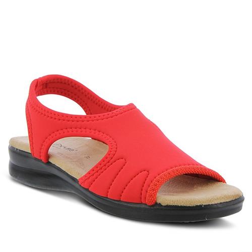 Red slip on lycra sandal with heavy stitch detail.