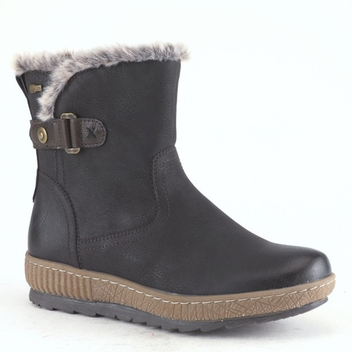 Black short boot with faux fur lining and decorative strap.