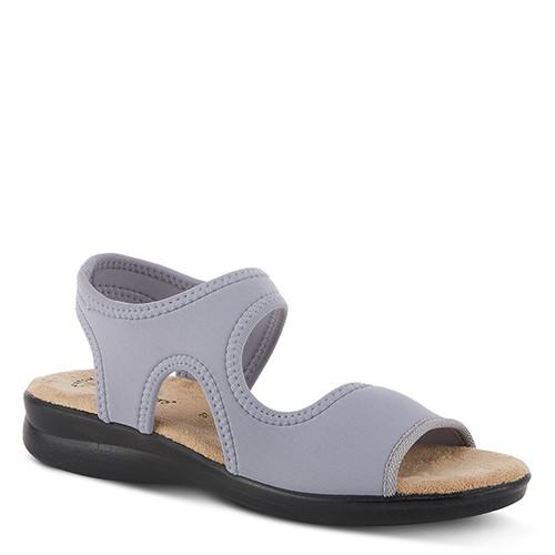 Grey slip on lycra sandal with tonal stitch detail.