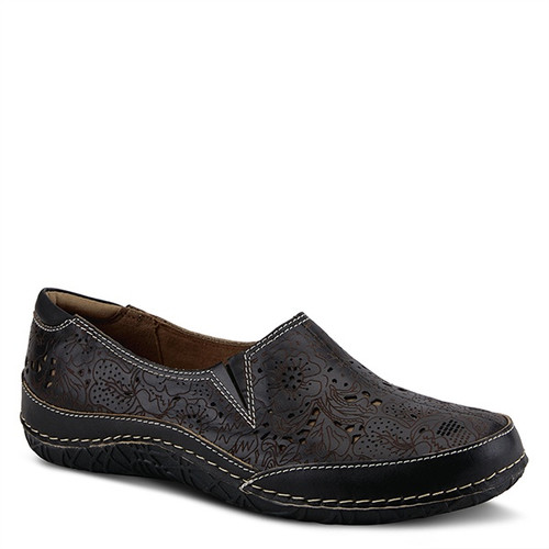 Black hand painted leather slip on with floral perforated design.
