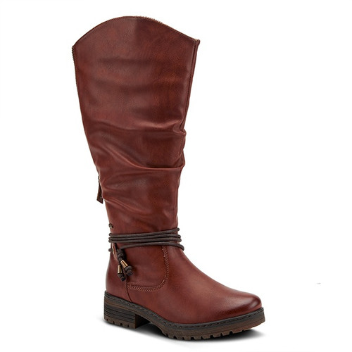 Camel women's tall boot with decorative rope laces at the ankle.