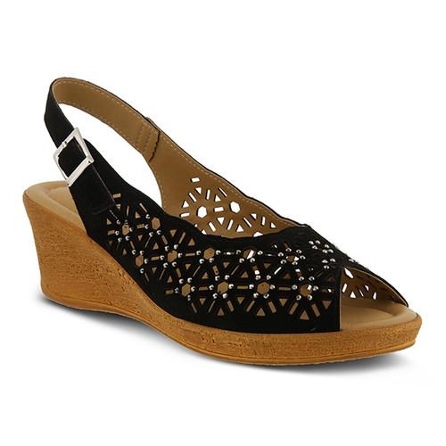 Black Mid heel sling back wedge sandal with rhinestones.