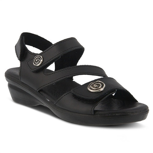 Black leather ankle strap sandal with 3 adjustable straps.