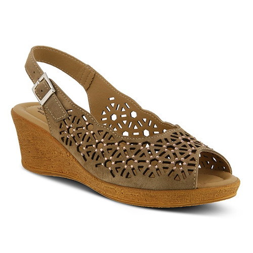 Beige Mid heel sling back wedge sandal with rhinestones.