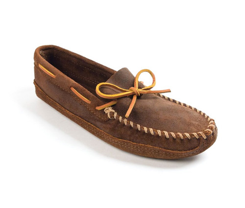 Minnetonka Men's Double Bottom Softsole Suede Leather - Brown