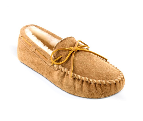 Tan Sheepskin softsole moc by Minnetonka.