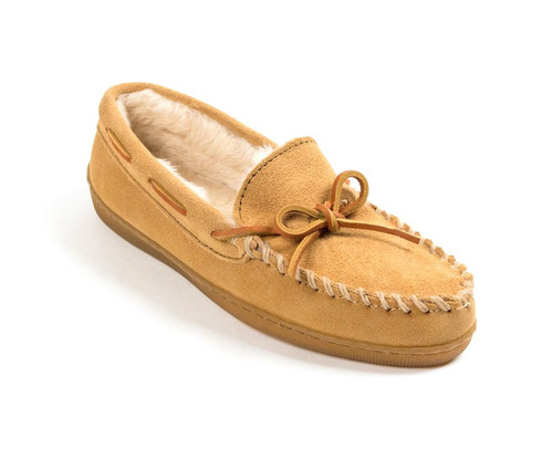 Tan pile lined hardsole moc for women by Minnetonka.