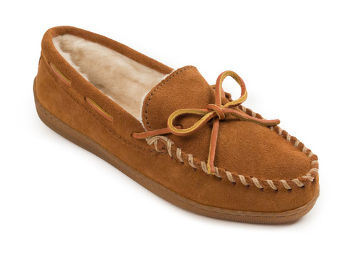 Brown pile lined hardsole moc for women by Minnetonka.