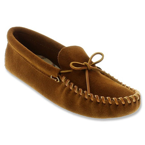 Brown suede softsole moc by Minnetonka.