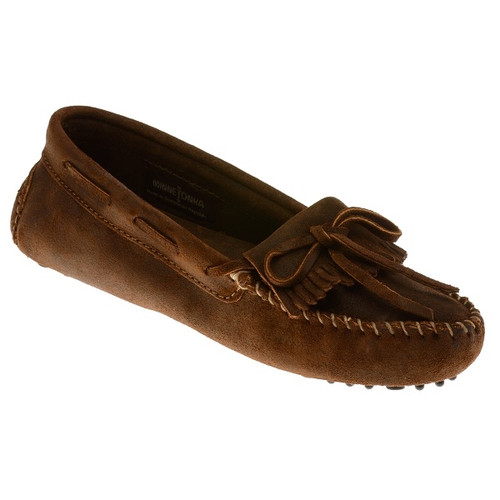 Brown suede kilty driver with nub patterned sole by Minnetonka.