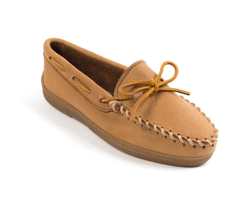 Natural moosehide classic moc by Minnetonka.