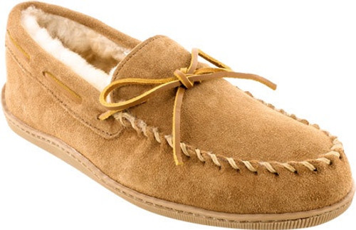 Golden tan sheepskin hardsole moc with rawhide lace by Minnetonka.