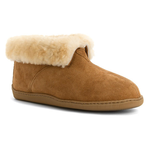 Genuine sheepskin slipper bootie with indoor/outdoor sole by Minnetonka.