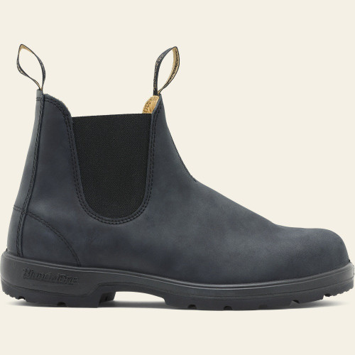Soft rustic black pull on boot by Blundstone.