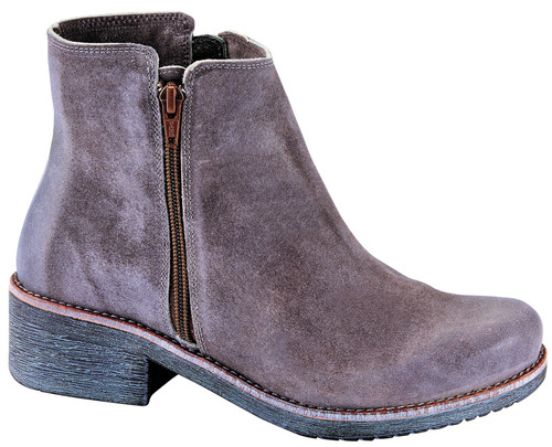 Taupe grey ankle boot with removable cork footbed by Dansko.