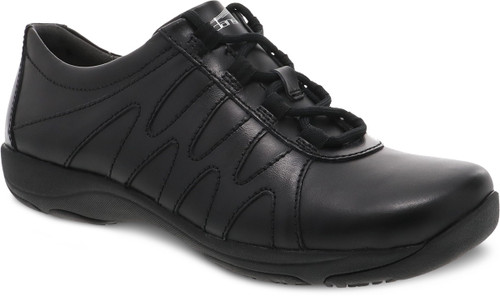 Black leather lace up sport inspired shoe by Dansko.