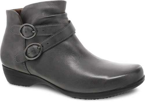 Grey ankle boot with decorative buckles and side zipper by Dansko.