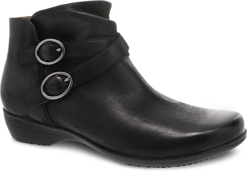 Black ankle boot with decorative buckles and side zipper by Dansko.