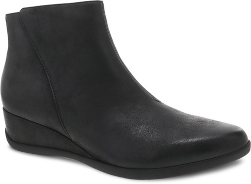 Black ankle boot with side zipper by Dansko.