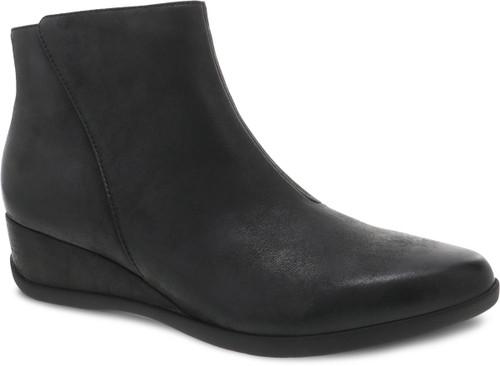Black ankle boot with side zipper by Dansko.