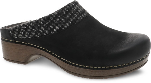 Black mule with woven trim by Dansko.