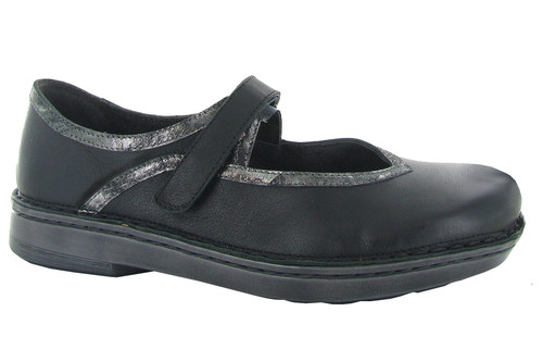 Black mary jane with metallic accents and removable cork footbed by NAot.