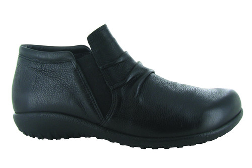 Soft black slip on shoe boot with removable cork footbed by Naot.