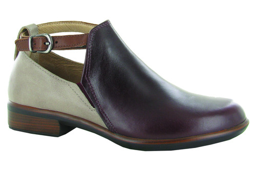 Bordeaux and stone ankle bootie with an upper strap and cork removable footbed by Naot.
