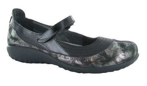 Soft black and metallic onyx mary jane with removable cork footbed by Naot.