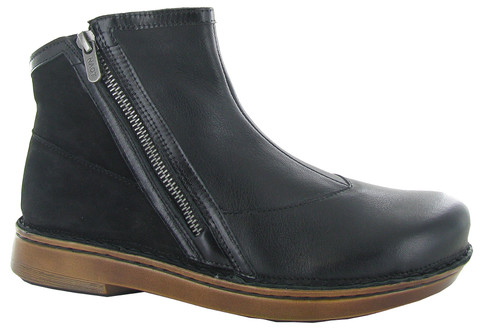 Soft black ankle boot with side zippers and removable cork footbed by Naot.