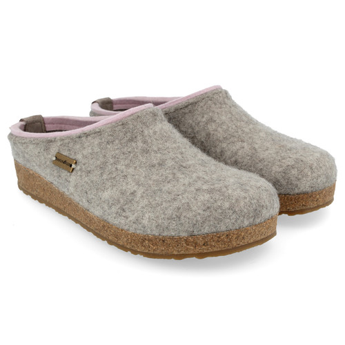 Silver grey wool felt clog with cork footbed by Haflinger.