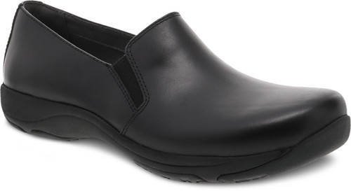 Black black stain protected slip on shoe for work by Dansko.
