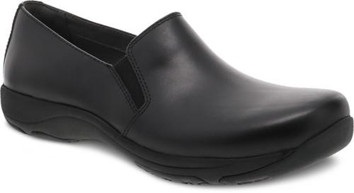 Black black stain protected slip on shoe for work by Dansko.