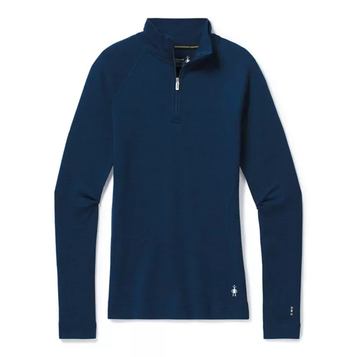 Alpine Blue 1/4 zip baselayer made with Merino wool by Smartwool.