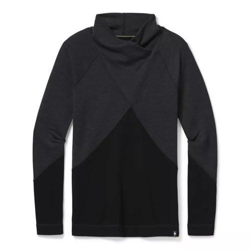 Merino wool charcoal crossover neck top by Smartwool.