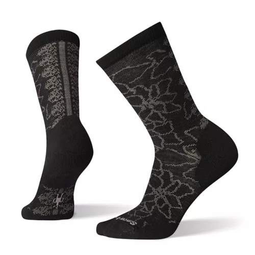 Black merino wool sock with floral pattern by Smartwool.