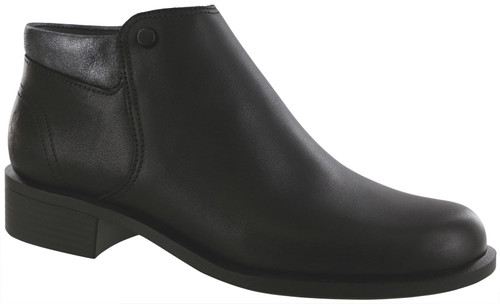 Black ankle boot with removable footbed by Sas.