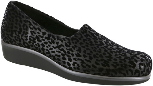 Black Leopard print stretch fabric slip on with removable footbed by Sas.