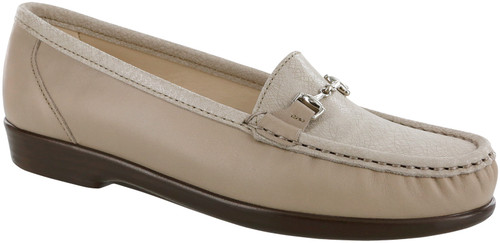 Taupe/Linen web moccasin with removable footbed by Sas.