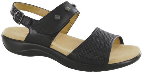 Black woven pattern sandal by Sas.