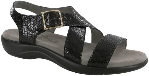 A black woven pattern sandal by Sas.
