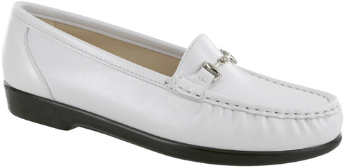 Pearl white moccasin with removable footbed by Sas.