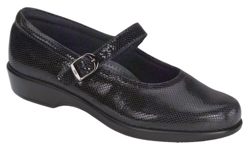 Black snake mary jane with removable footbed by Sas.