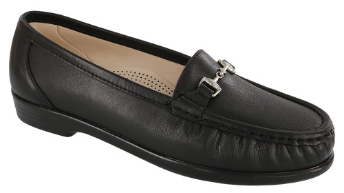 Smooth black moccasin with removable footbed by Sas.