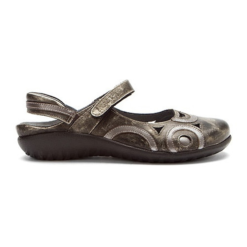 Metal mary jane sling back with removable cork footbed by Naot.