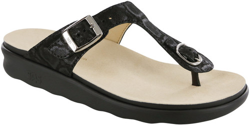 Nero Snake sandal with functional buckle by Sas.