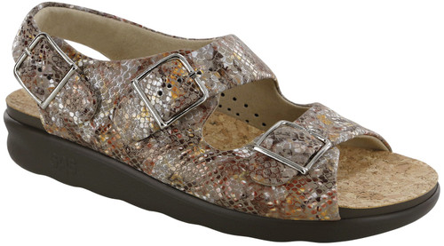 A taupe multi snake color super soft classic sandal with adjustable straps by Sas.