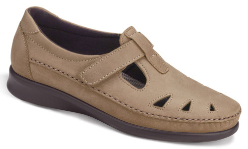 Sage leather upper with adjustable leather strap by Sas.