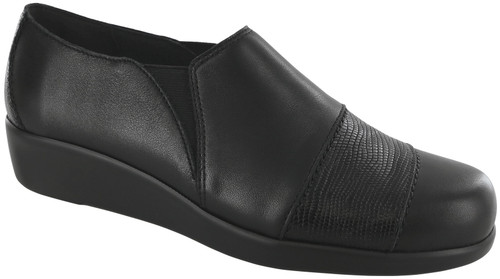 Black/ Lizard dress casual wedge with removable footbed by Sas.